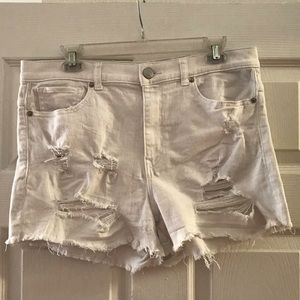Express Distressed White Shorts